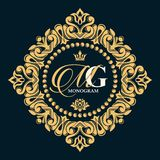 Gold decorative floral frame and monogram initials. Vector heraldic logo templates. stock illustration