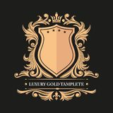 Gold decorative floral frame and monogram initials. Vector heraldic templates. vector illustration