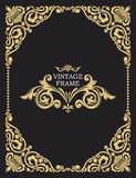 Gold decorative frame. Vector vintage templates. The past. Monogram, initials, jewelry. Luxurious template royalty free illustration