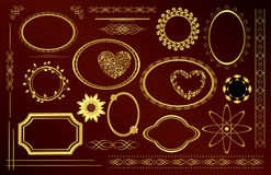 Gold decorative frames - set - vector Stock Image
