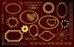 Gold Decorative Frames - Set - Vector Stock Image