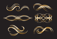 Gold Decorative Labels and Swirls Stock Photo