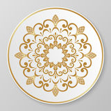 Gold decorative plate. Royalty Free Stock Photos