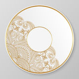 Gold decorative plate. Stock Photos