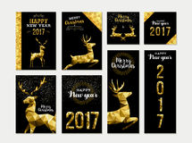 Gold deer greeting card template set for christmas Stock Image