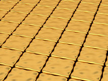Gold deformed cubes background. Abstract bright background with reflecting gold deformed cubes Royalty Free Stock Photo