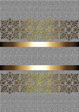 Gold delicate pattern with gold ribbons on a beige background Royalty Free Stock Images