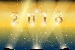 Gold 2018 in den Scheinwerfern Lizenzfreie Stockfotos