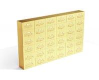 Gold deposit boxes on white background. 3d illustration Royalty Free Stock Photos