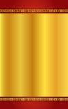 Gold der chinesischen Art und roter Hintergrund Stockfotos