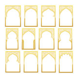 Gold Design Arab window Ramadan Kareem. Stock Photo
