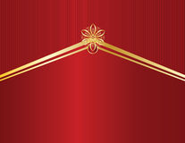 Gold design on red line backgr. Red background with gold designs and red lines Royalty Free Stock Photography