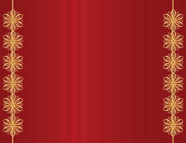 Gold design on red line background. Red background with gold designs on left and right sides stock illustration