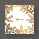 Gold design template for wedding invitations, greeting cards, labels, packaging design, frame for inspirational quotes. A beautiful golden frame of peony Stock Images