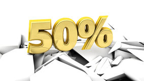 3d 50 percent in gold. 50% in gold   destroyed on ground Stock Image