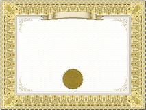 Gold detailed certificate Royalty Free Stock Images