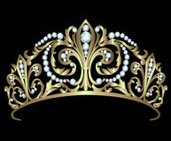 Gold diadem with diamonds Stock Photos