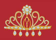 Gold diadem isolated on red Stock Image