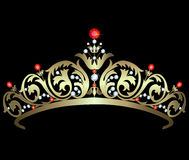 Gold diadem with rubies Royalty Free Stock Images