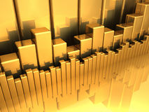 Gold Diagrams. Gold charts - various diagrams on a reflective floor, 3d render Stock Photo