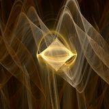 Gold Diamond. Smooth fractal abstract with curves and golden diamond in the middle Royalty Free Stock Photography