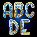 Gold and diamond alphabet letters Stock Images