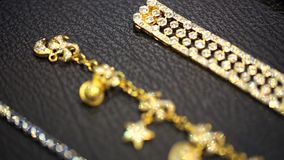 Gold diamond bracelet stock footage