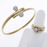 Gold and Diamond Bracelet and Ring Stock Images