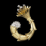 Gold and Diamond Brooch. Freeform Gold and Diamond Brooch on Black Stock Photos