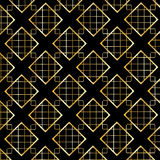 Gold Diamond Checkered pattern on black Stock Images