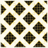 Diamond Checkered pattern. Gold Diamond Checkered modern pattern, black and gold ornament with polka dot background. Gold geometric luxury pattern with diamond Royalty Free Stock Photography