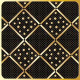 Gold Diamond Checkered pattern Vector. Gold Diamond Checkered ornament with shapes of the stars on black background in the gold polka dots Royalty Free Stock Images