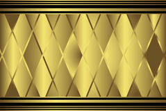 Gold diamond geometric pattern. Golden diamond shaped geometric patterned background with top and bottom borders stock illustration