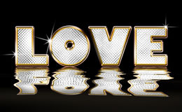 Gold and Diamond Graphic of the word Love. Royalty Free Stock Image