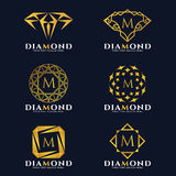 Gold Diamond and jewellery logo vector set design stock illustration