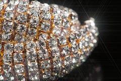 Gold Diamond Necklace Macro Stock Image