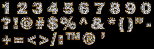 Gold and diamond numerals and punctuation. Numerals and punctuation in gold and diamond finish Stock Photo