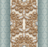 Gold diamond ornament, seamless pattern Stock Photo