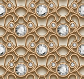 Gold diamond pattern. Vintage gold ornament, jewelry seamless pattern with diamonds Stock Photography