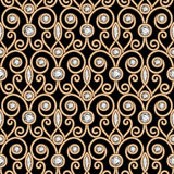 Gold diamond pattern. Vintage gold ornament, jewelry seamless pattern with diamonds Royalty Free Stock Photography