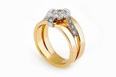 Gold diamond ring Stock Photo