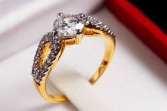 Gold diamond ring Royalty Free Stock Photo