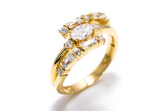 Gold diamond ring. Golden diamond ring isolated on a white background Stock Photo