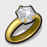 Gold diamond ring, symbol of love and romance Royalty Free Stock Image