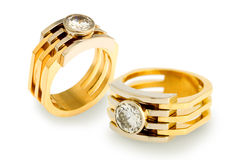 Gold diamond rings Stock Photos