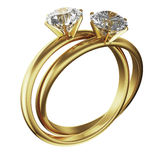 Gold diamond rings intertwined Royalty Free Stock Photos