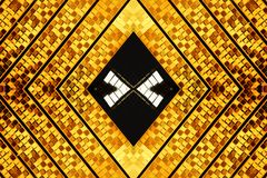 Gold diamond shape abstract. An abstract background of golden shaped diamonds with a black and silver center Royalty Free Stock Images