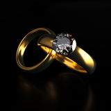Gold and Diamond Wedding Rings Stock Photography
