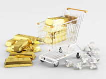 Gold and Diamonds Royalty Free Stock Photo