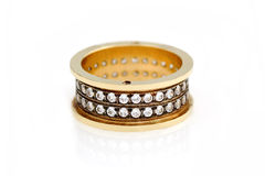 gold ring with white diamonds Stock Photo
